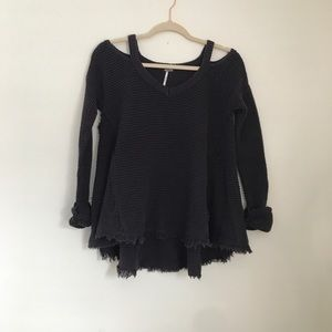 Free People Cold Shoulder Carbon Gray Sweater